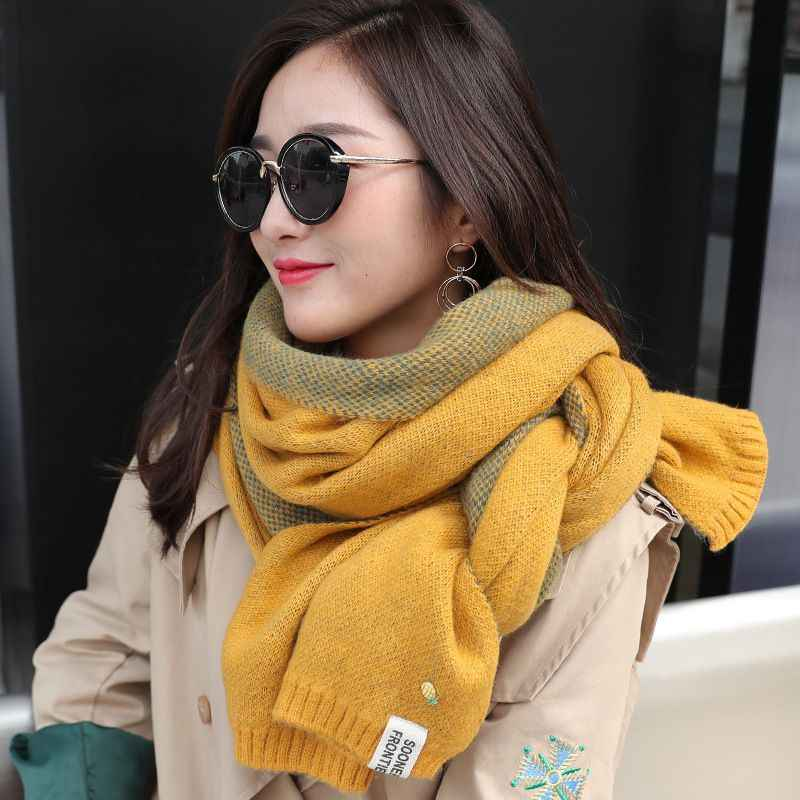 Women Scarf Autumn And Winter Scarf New Solid Color Small Pineapple Thick Warm Scarf Warm Imitation Cashmere Shawl Neck Scarf