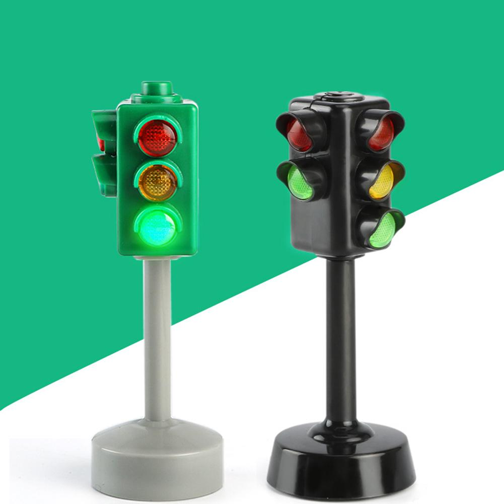 Mini Traffic Signs Road Light Block With Sound LED Children Safety Kids Education Toys Perfect Gifts For Birthdays Holidays Toys