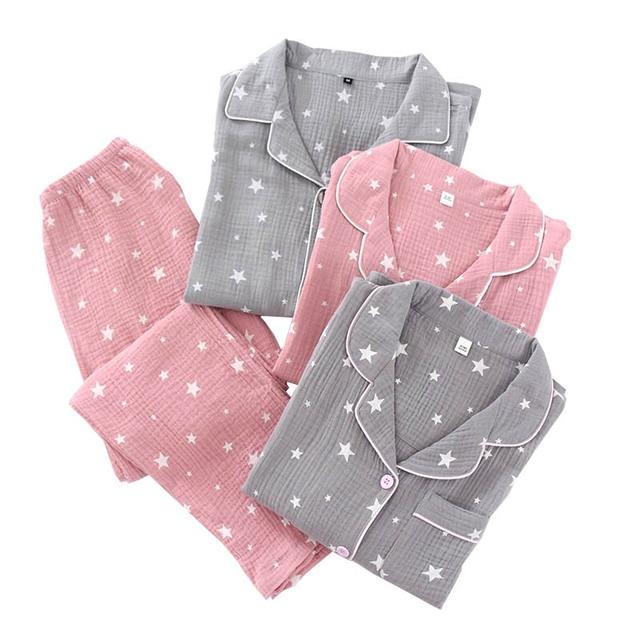 Ilkbahar & sonbahar yeni çiftler pijama konfor gazlı bez pamuk erkekler ve kadınlar pijama yıldız baskılı severler gecelik gevşek gündelik giyim