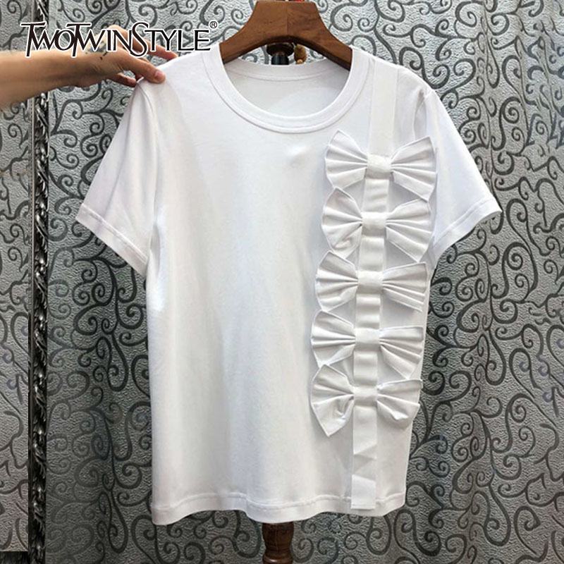 TWOTWINSTYLE Casual Patchwork Bow Women T Shirt O Neck Short Sleeve Loose Asymmetrical T-shirt For Female Fashion Clothing Tide