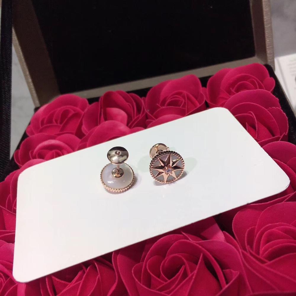 Luxueux romantique boussole boucles d'oreilles étincelant huit étoiles boucle d'oreille pour femmes dames pur 925-Sterling-argent célèbre bijoux - 2