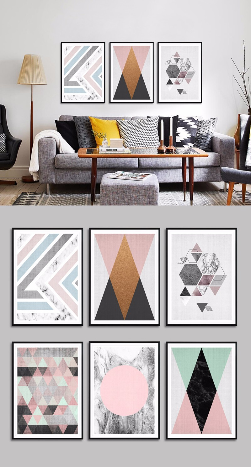 New Style Northern European-Style Minimalist Watercolor Abstract Geometry Graphics Oil Painting Modern Art Painting Core Bedroom