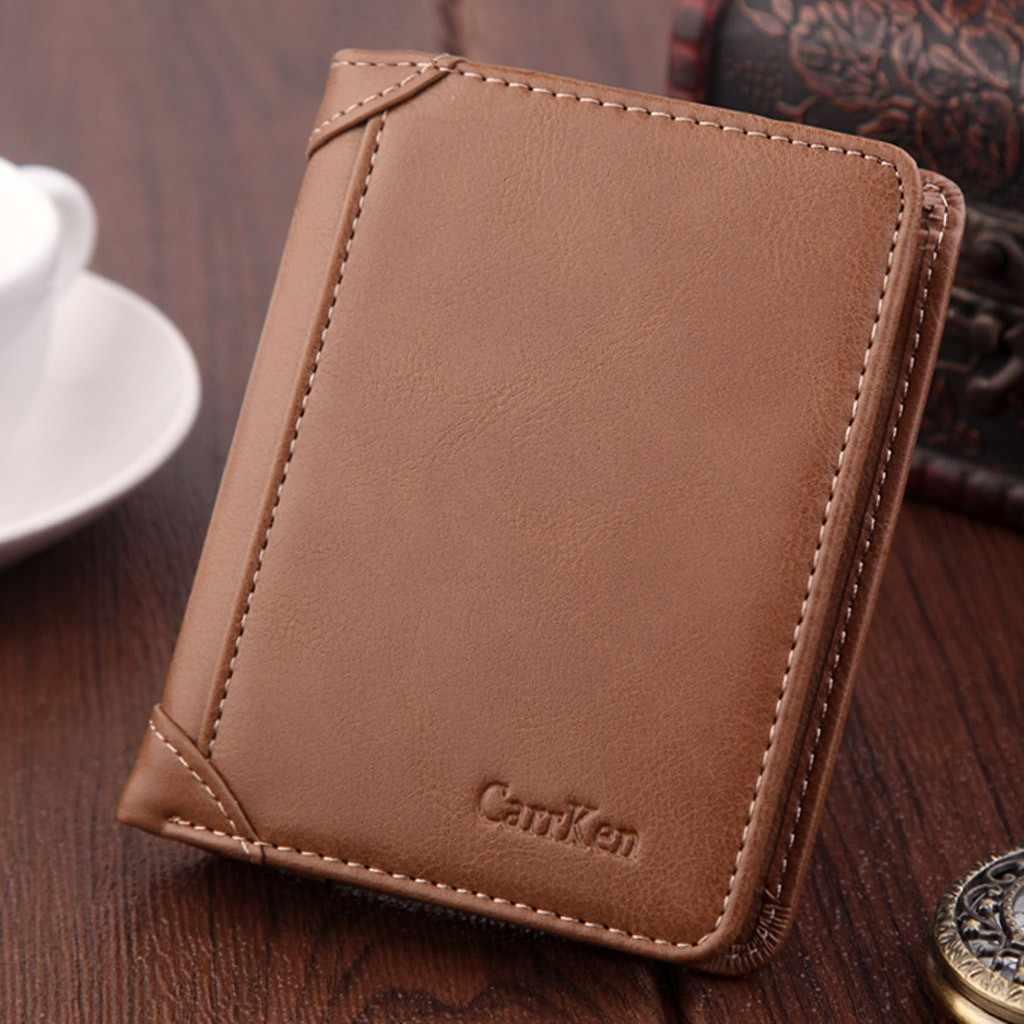 Portefeuille antivol numérisation cuir portefeuille moraillon loisirs hommes mince en cuir Mini portefeuille étui carte de crédit à trois volets sac à main
