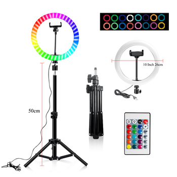 10 Inch Led Ring Light Usb RGB Ringlamp USB Light Ring Photo Selfie Lamp with Remote Phone Stand for Streaming Video Photography 16