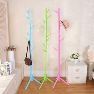 Image 3 - 175cm Wood Clothes Hanger with Assembly 8 Hooks Collapsible Floor Standing Coat/Hat Racks Entrance Hall/Bedroom Clothes Rack