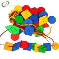 Игрушки Монтессори 30 шт., развивающие игрушки для детей, для раннего обучения, геометрические блоки, пуговицы для резьбы, учебные пособия GYH