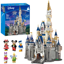 Original Disney Princess Castle 71040 16008 Mickey Mouse Building Blocks Bricks Donald Duck Educational City Toys For Children