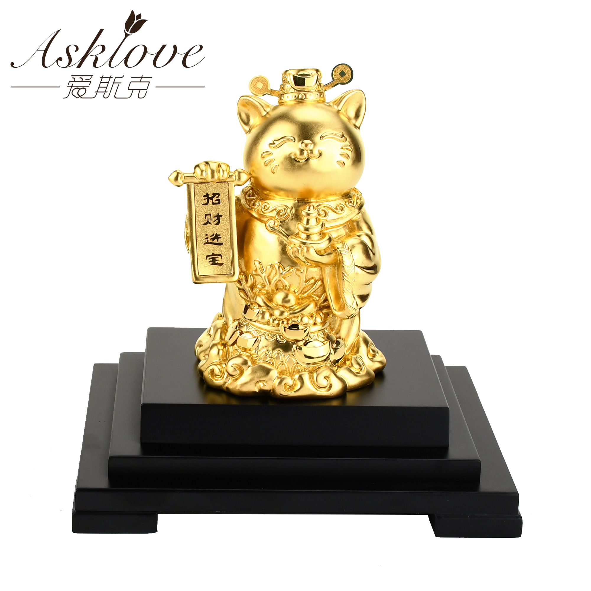 Chinese Lucky Cat Large Gold Foil Fortune Cat Wealth Crafts Welcoming Good Luck Waving Cat sculpture statue decor Car Ornament