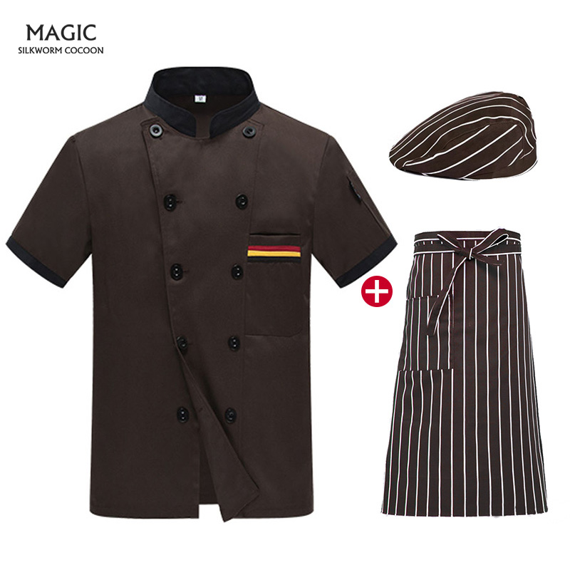 Women Men Short Sleeve Double Breasted Catering Jackets Chef Uniforms Food Service Restaurant Kitchen Workwear Tooling Uniform
