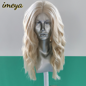 Imeya Shot Bob Wave Synthetic Lace Front Wigs Blonde Color Half Hand Tied Heat Resistant Replacement Cosplay Wigs For Women(China)
