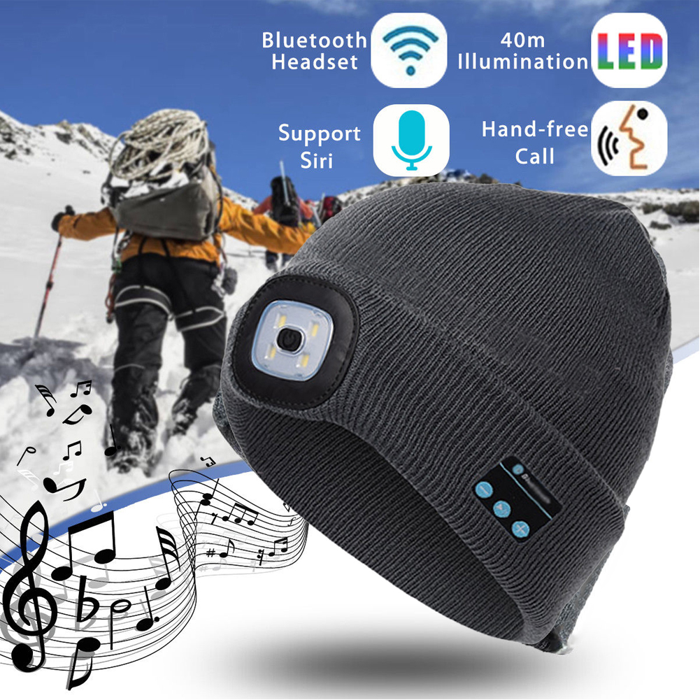 Thefound 2019 Fashion Warm Beanie Bluetooth LED Hat Wireless Smart Cap Headset Headphone Speaker