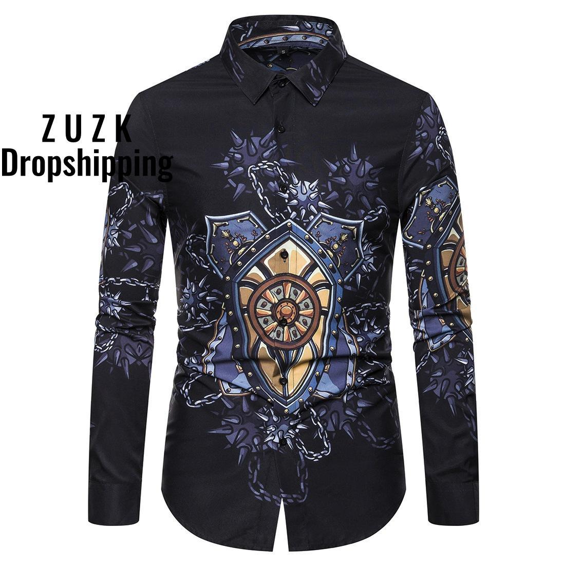 Printed Men Shirt Casual Nightclub Party Slim Fit Long Sleeve Mens Dress Shirts Tops Autumn  Turndown Collar Camisas Masculina