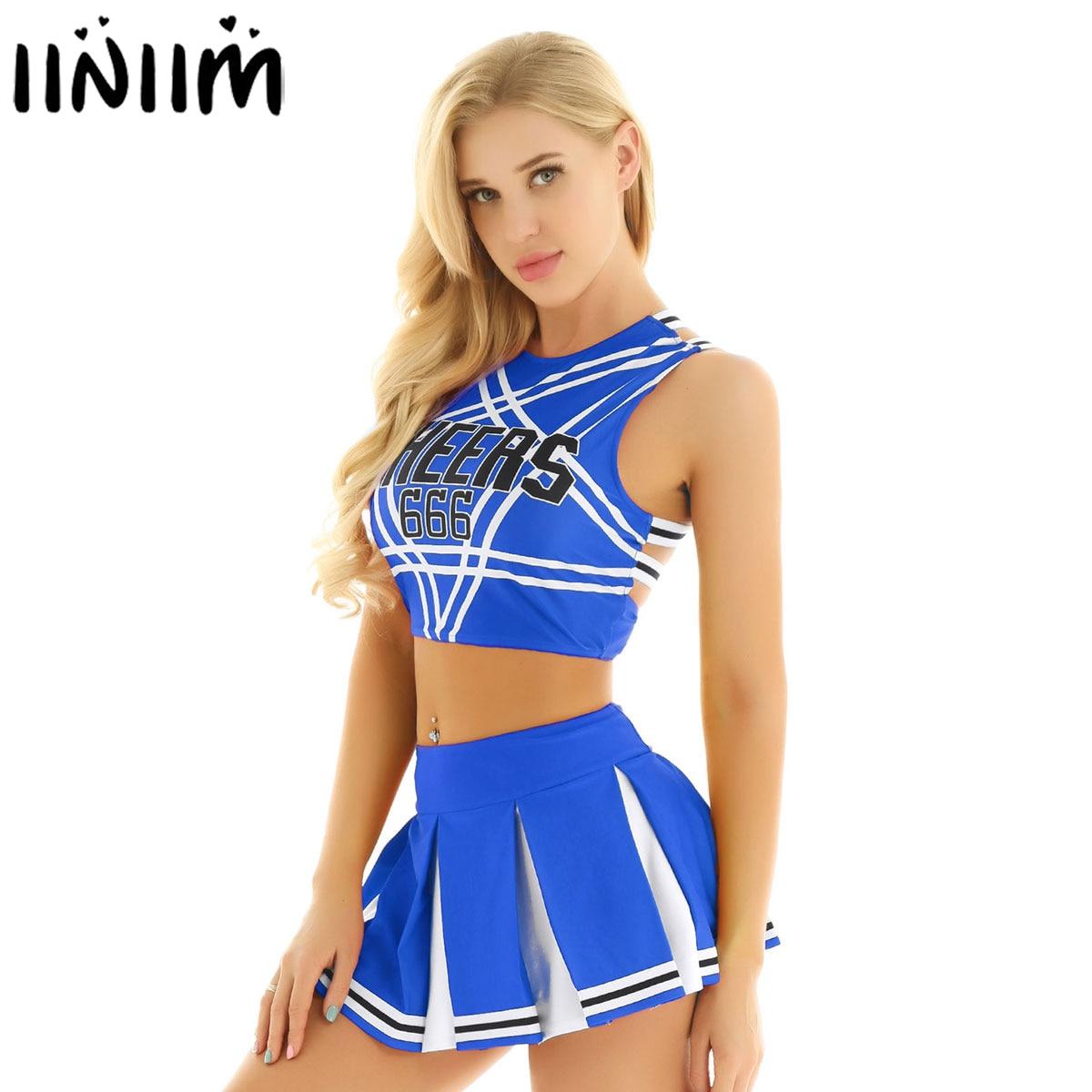 Women Adult Cheerleader Mini Pleated Skirt Costume Set Sexy Japan/Korean School Girls Cosplay Uniforms Halloween Fancy Clothing