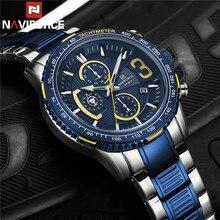 NAVIFORCE Fashion Men Watch Sport Man Wristwatch Top Brand Luxury Military Chronograph Stainless Steel Quartz Male Clock 8017