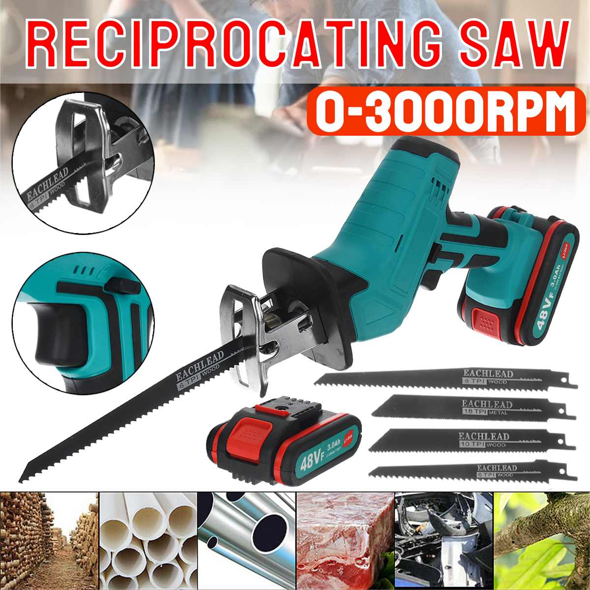 48VF Electric Cordless Reciprocating Saw Mini Saw Chainsaw Running Saw Power Tools for Wood Metal Cutting   2 Battery 4 Blades