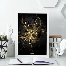 Nordic Wall Art Boston City Map Modern Home Decor Posters Abstract Wall Art Oil Painting Canvas Home Decor Family Painting
