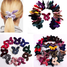 1PC Solid Scrunchie Girls Velvet Hair Tie Women Bunny Cute Rabbit Ear Elastic band Rope Gum for Ponytail Holder