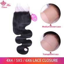 Queen Hair Official Store 4x4 5x5 6x6 Body Wave HD Transparent Lace Closure Brazilian Virgin Human