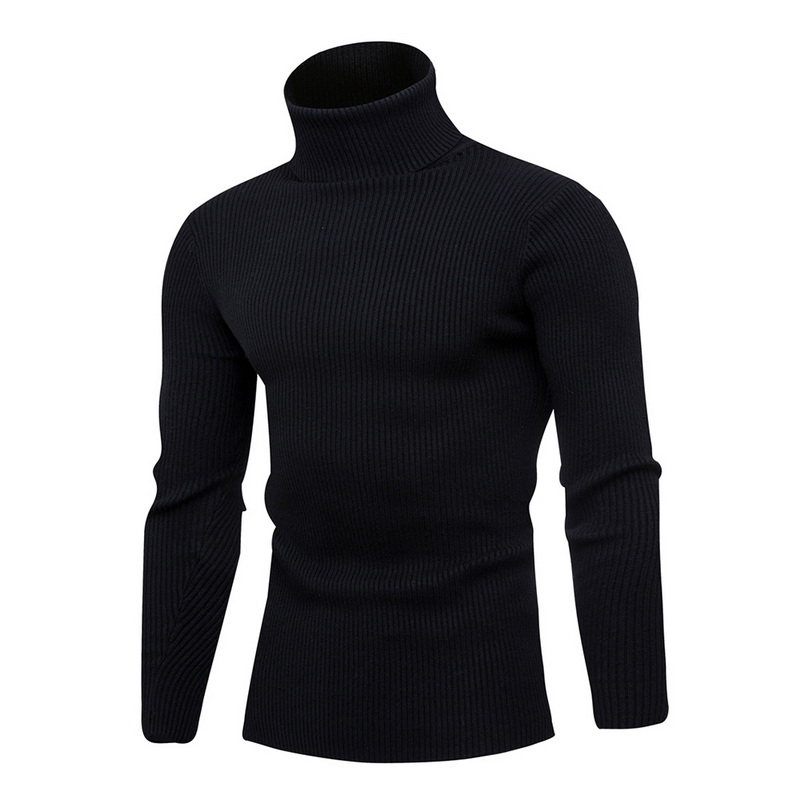 Puimentiua Men's Turtleneck Sweater Fashion Solid Color Knit Men's Sweater Casual Slim Winter Warm Pullover Men's Sweater 2019