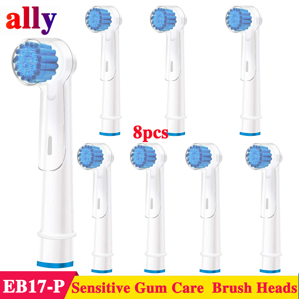 8X EB17 Sensitive Gum Care Electric toothbrush heads Replacement For Braun Oral B P2000 P4000 P4500 DB4510 Electric toothbrush image