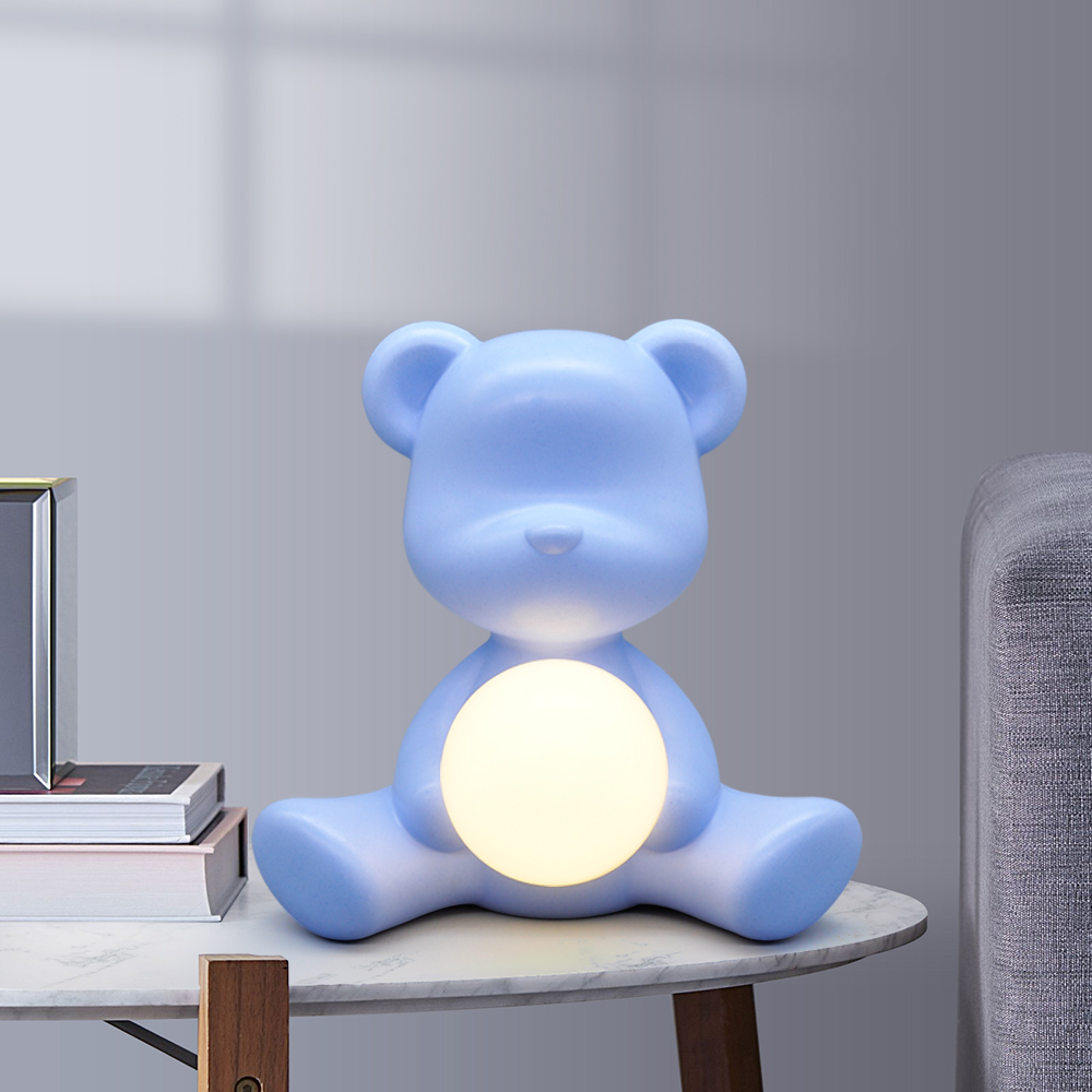 Kid Gift 5W Table Night Light Pink Blue with Plug in, Italy Design Lovely Bear ABS Bedside Study Table LED Light for Girl Boy - 4