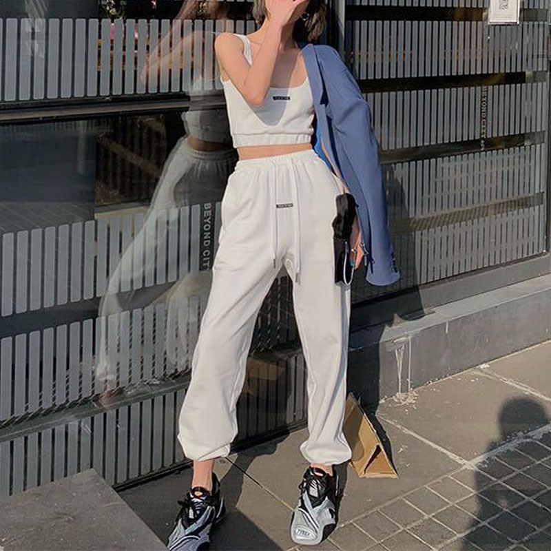 Women High Waist Drawstring Jogger Pants Sets Letter Print Tube Top + Loose Casual Pants Two Piece Sets Fashion Streetwear Suits
