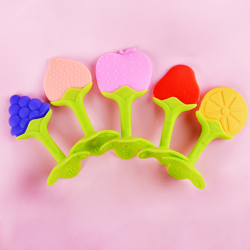 1Pcs Silicone Baby Teether Fruit Shape Baby Teething Toys Infant Chew Tooth Toys Baby Teether Food Grade Teether Toys Baby Gift