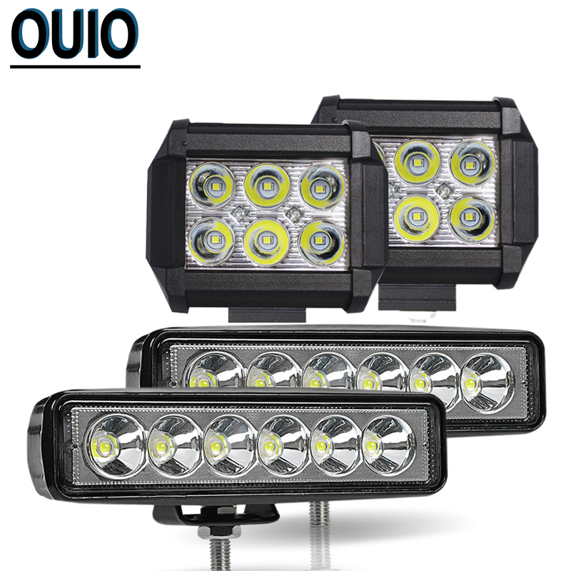 18W 4inch 6inch Car Accessories LED Work Light Bar for Driving Motorcycle Spot Beam 12V 6000K Truck Audi Tractor Boat