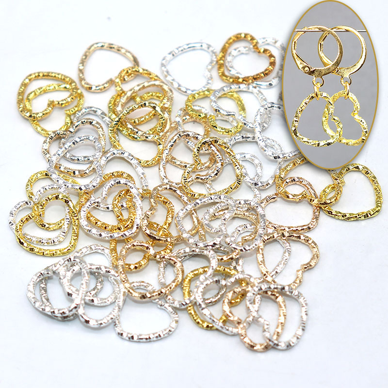 50/100pcs Metal Embossing Clasp With Open Jump Ring Jewelry Clasp Beadwork Craft For Earring Clasps & Hooks For Jewelry Making