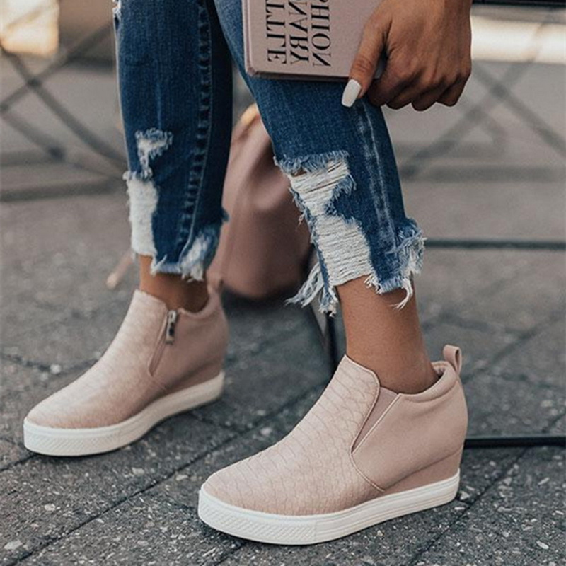 HEFLASHOR Women Sneakers 2019 Breathable Wedges Platform Vulcanize Shoes Woman Pu Leather Women Casual Shoes Tenis Feminino