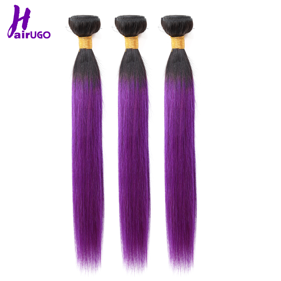 HairUGo Brazilian Hair Weave Bundles Straight Hair Bundle 10-24 1B/Purple Ombre Human Hair Bundles Can Buy With Closure Non Remy