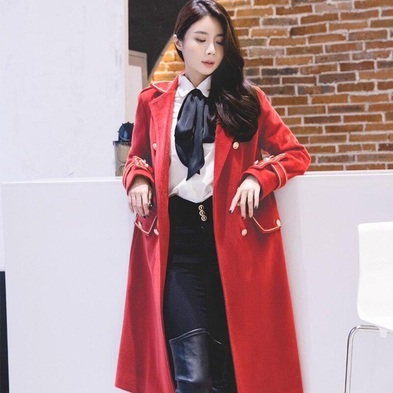 2019 패션 트렌치 코트 여성 긴 소매 빨간색 오버 코트 겨울 따뜻한 느슨한 우아한 기질 여성 windswear e6738 유지-에서울 & 블렌드부터 여성 의류 의  그룹 3