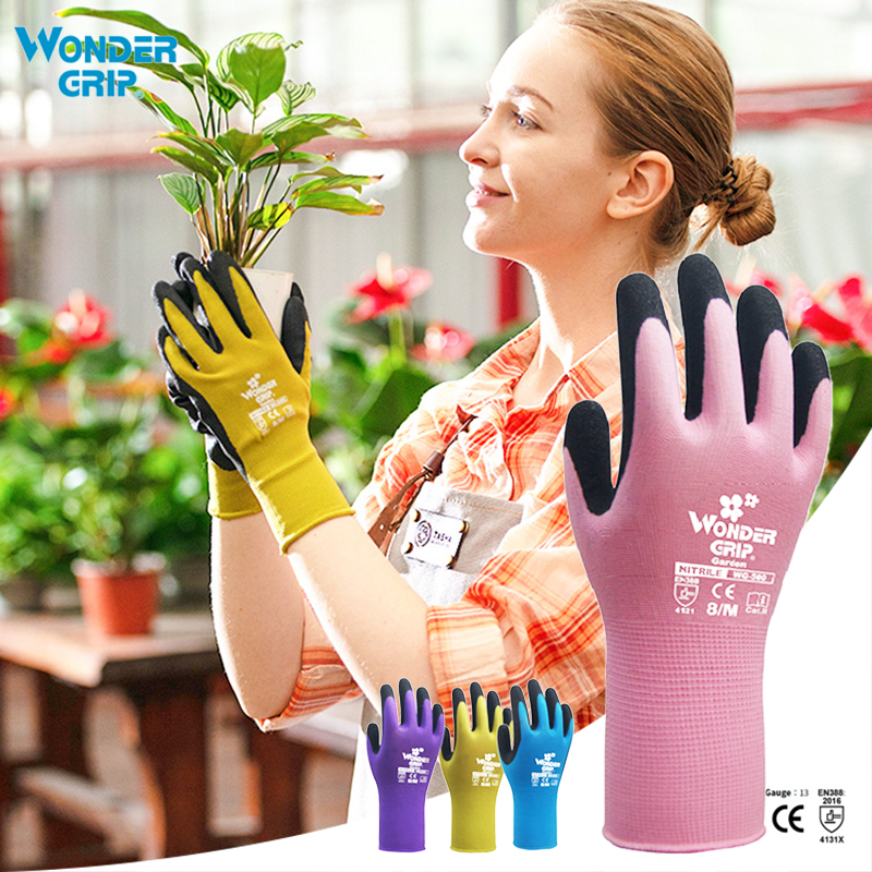 1 Pair Garden Gloves Nylon Garden Genie Rubber Gloves  Quick Easy To Dig And Plant Gant De Jardin