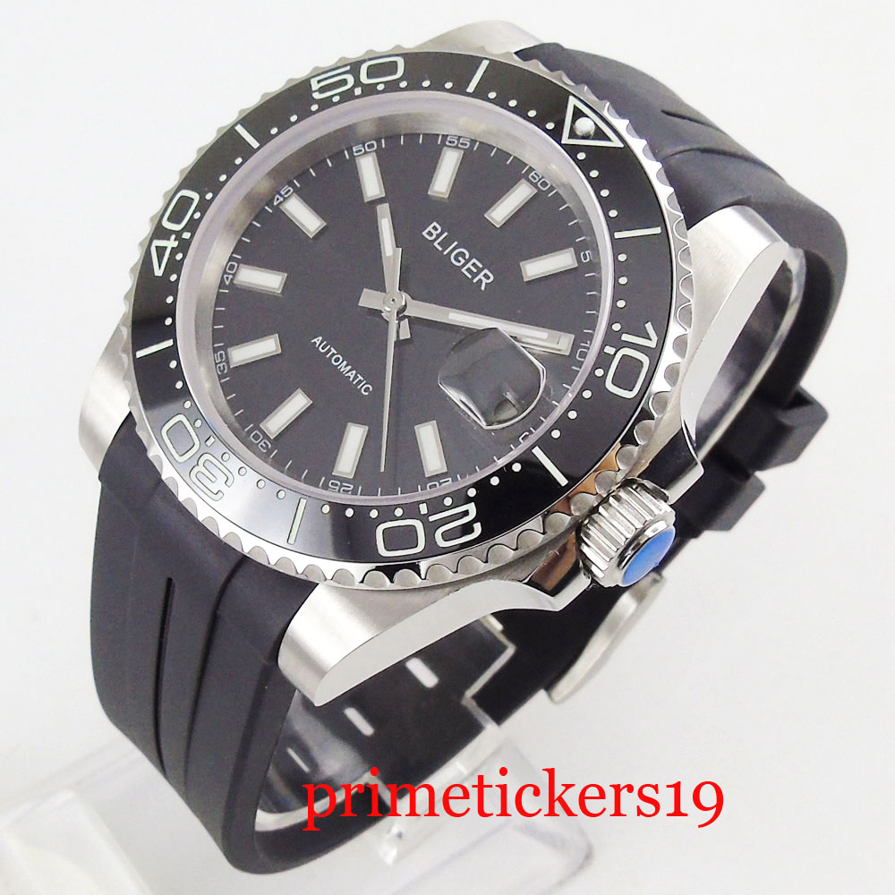 40mm saphire glass black sterile dial date 21 jewels luminous white marks automatic men watch