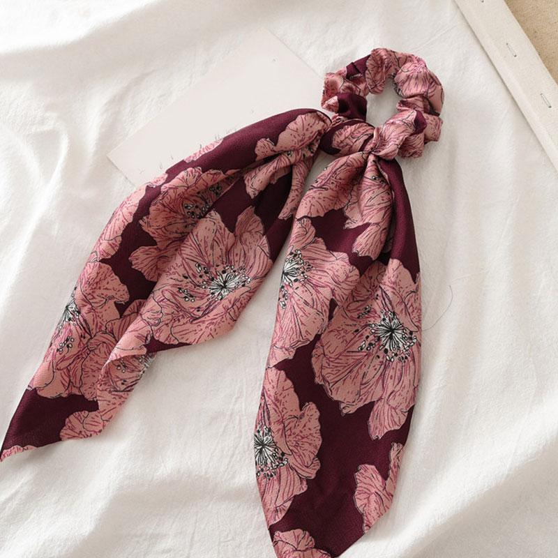 Bohème grande fleur chouchous longs banderoles arc cheveux écharpe femmes filles doux cheveux corde cravates mode cheveux accessoires chapeaux 53