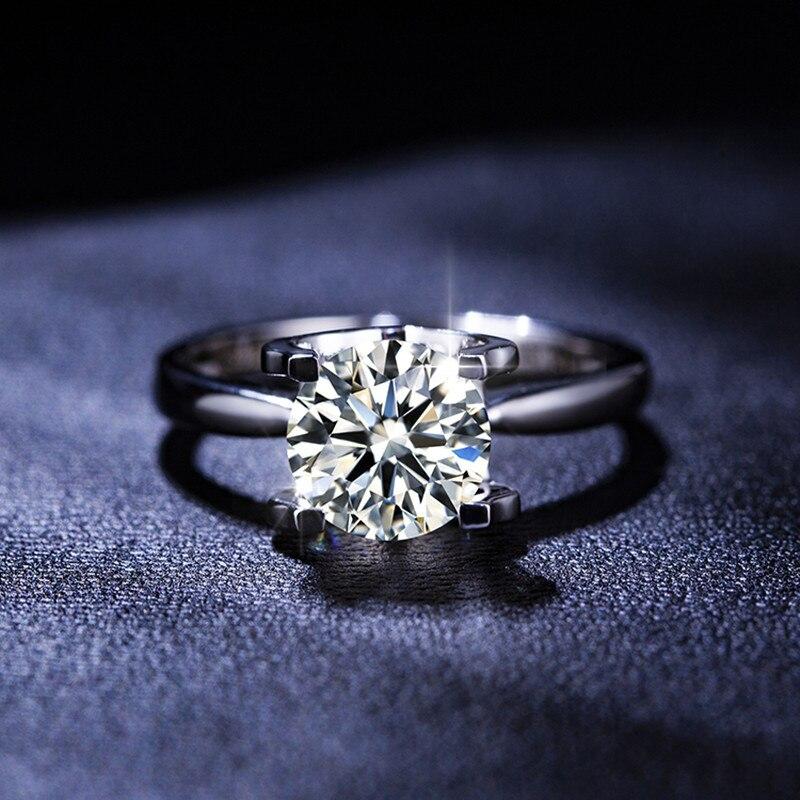 Classique 0.5ct-2.0ct Moissanite 9K véritable or blanc mariage Propose des bagues bandes pour les femmes mariée petite amie diamant Test passé