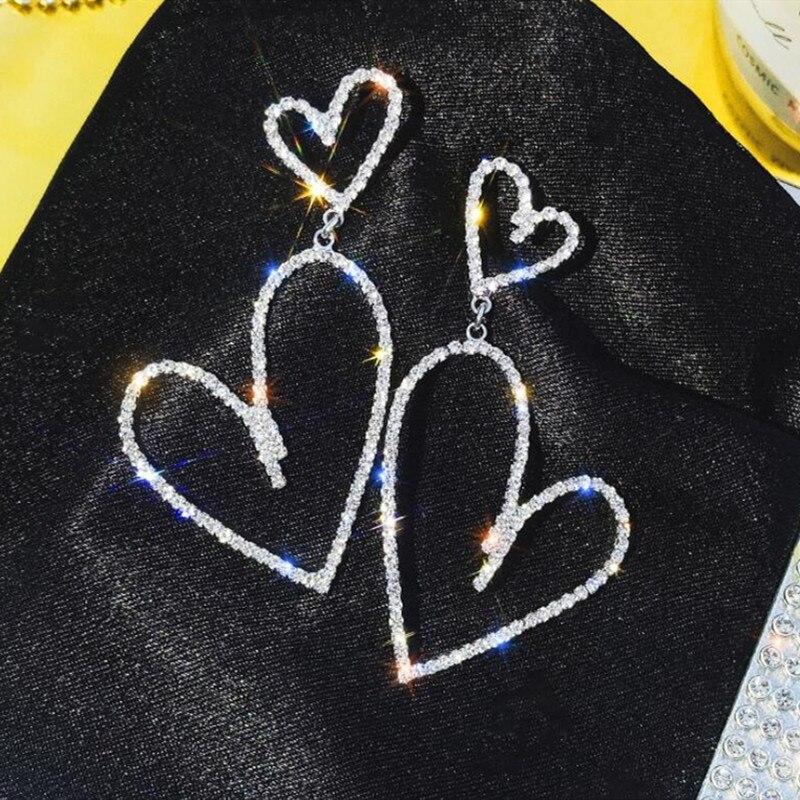 European Crystal Big Double Heart Earrings For Women Korean Sweet Elegant Long Hollow Rhinestone Earrings LOVE Wedding Jewelry