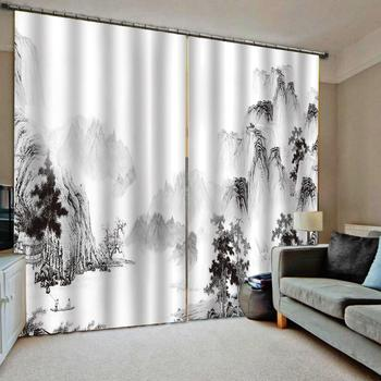 high quality curtain Ink forest painting living room Bedroom hotel Any room modern curtains