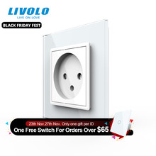 Livolo EU Standard Israel Power Socket, Crystal Glass Panel,100~250V 16A Wall Power Socket,C7C1IL 11/12/13/15(7colors),no logo