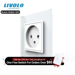 Image 1 - Livolo EU Standard Israel Power Socket, Crystal Glass Panel,100~250V 16A Wall Power Socket,C7C1IL 11/12/13/15(7colors),no logo