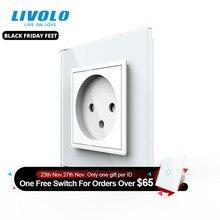 Livolo eu標準イスラエル電源ソケット、クリスタルガラスパネル、100〜250v 16A壁電源ソケット、c7C1IL 11/12/13/15(7色) 、なしロゴ