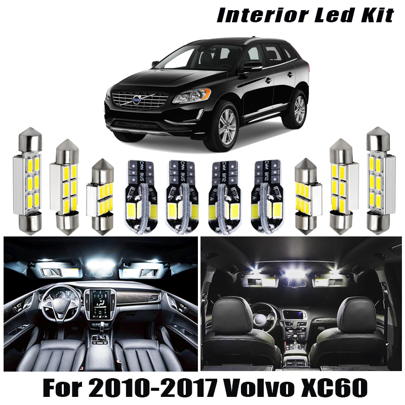 White Car <font><b>Accessories</b></font> Interior For 2010-2015 2016 2017 <font><b>Volvo</b></font> <font><b>XC60</b></font> Light Bulbs Package Kit Reading Ceiling Cargo License Lamp image