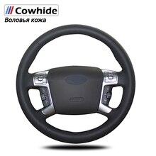 Handsewing capas de volante de couro genuíno preto para ford mondeo 2007 2012 mk4 2008 2009 2010 2011