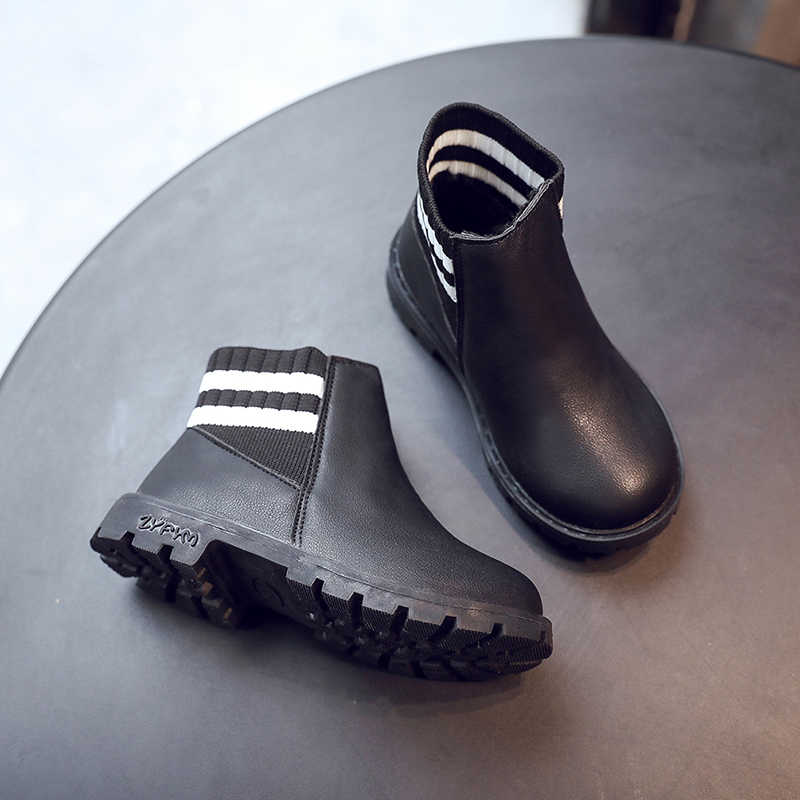 เด็กรองเท้าเด็กถัก Martin รองเท้า PU หนังหิมะรองเท้าสั้นรองเท้าบู๊ต Plus กำมะหยี่อุ่น SC135