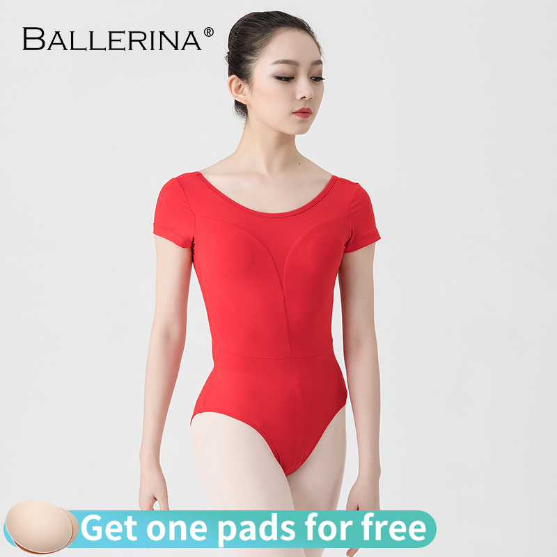 Ballet Leotard Women Short Sleeve Yoga Dance Costum Eaerialist Gymnastics Leotards Red Adult Ballerina 3522