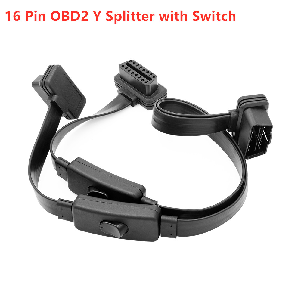 Extension Cable Full 16 Pin 2 In 1 With Switch Obd Obd2 16 Pin OBD2 Y Splitter With Switch Male To Double Female