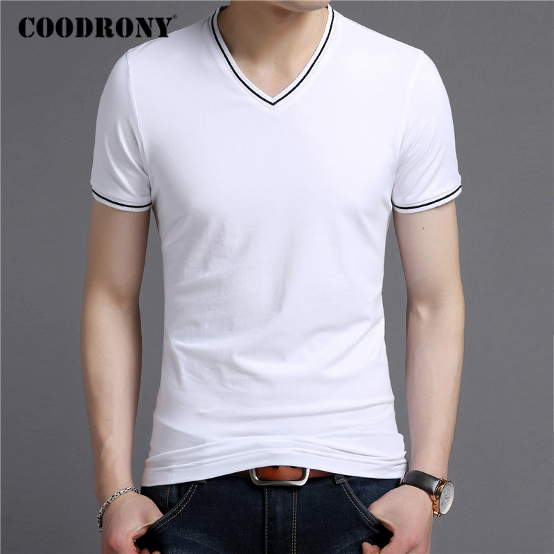 COODRONY Brand Short Sleeve T Shirt Men Fashion Casual V-Neck T-Shirt Mens Clothing Summer Cotton Tee Shirt Homme Tshirt C5081S
