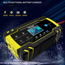 12/24V 8A Car Battery Charger Touch Screen Pulse Repair LCD Battery Charger For Car Motorcycle Lead Acid Battery Agm Gel Wet