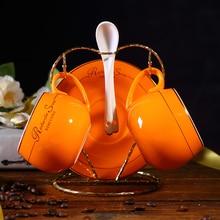 Ceramic Colorful ceramic coffee cup Creative Couple cups tea set and spoon saucers