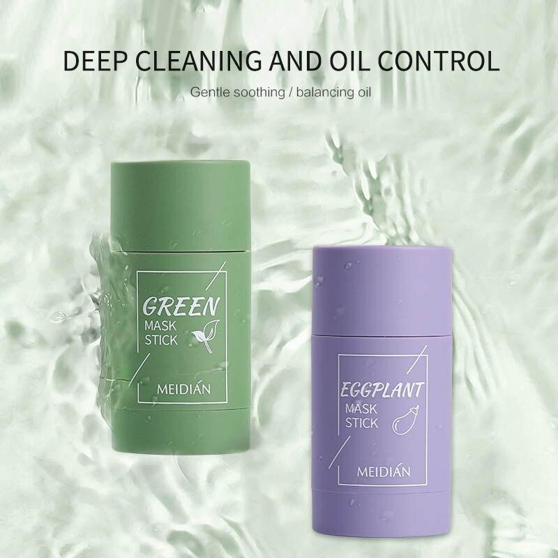 Green Tea Cleansing Mask Purifying Clay Stick Mask Oil Control Skin Care Anti-Acne Eggplant Remove Blackhead Mud Mask TSLM1 1